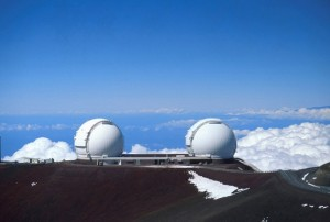 Telescópios Keck no cimo do monte Mauna Kea.