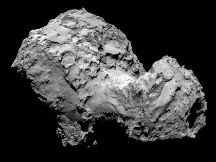 Foto do cometa 67P/Churyumov-Gerasimenko obtida pela sonda Rosetta