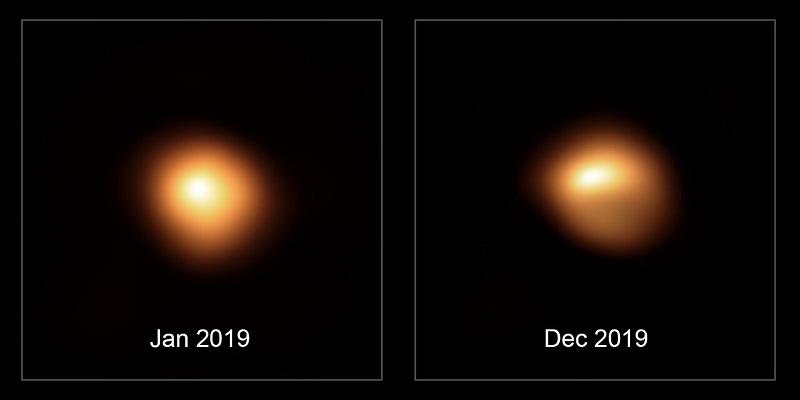 Betelgeuse antes e depois da diminuição de brilho.